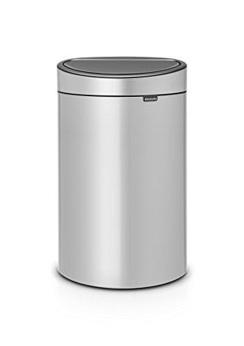 Brabantia Poubelle Touch Bin, 40 litres, Métallique Gris, Capacité 40 Litres, 72,7 cm x 43,5 cm x 30,2 cm