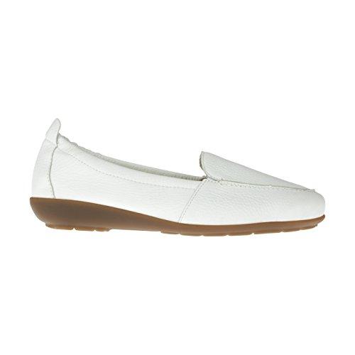 tessamino Damen Mokassin aus Hirschleder, klassisch, Weite H, für Einlagen Weiß