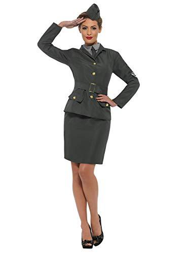 Smiffys SMIFFY 'S 47383M 2. Weltkrieg Army Girl Kostüm, Damen, Grün, m-uk Größe 12-14