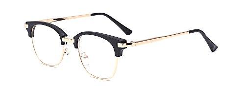 ALWAYSUV Retro Klare PC Linse Metall Bügel Halb Rahmen Unisex Streberbrille (50er Jahre Herren Kleidung)