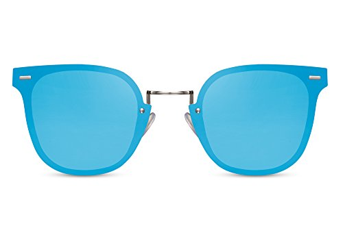 Cheapass Sonnenbrille Cat-Eye Runde Gläser Blau Verspiegelt Silber Metall Damen