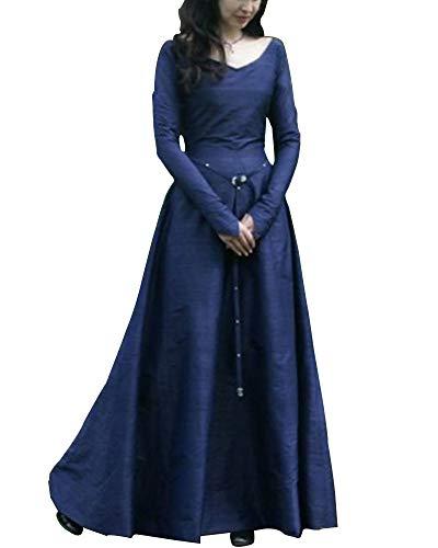 Liangzhu Frauen Vintage Mittelalter Cosplay Kostüm Langarm Kleid Prinzessin Gothic Übergröße Kleid Blau XXL (Bauer Kostüm Übergröße)