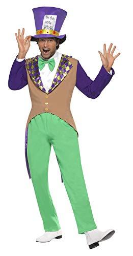 Smiffys Herren Hutmacher Kostüm, Hose, Jacke, Fliege und Hut, Größe: M, 29025