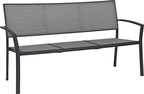 STERN Bank Allround // 2-Sitzer // Aluminium anthrazit // Bezug Textilen Silber