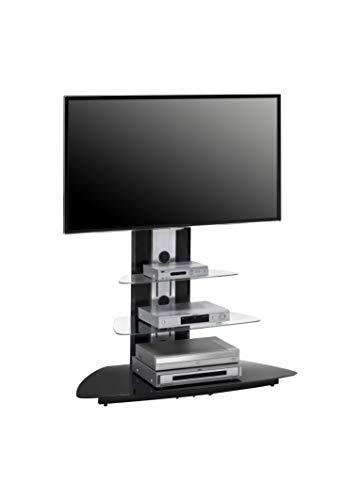 MAJA-Möbel 1628 9442 TV-Rack, Metall Alu - Schwarzglas, Abmessungen BxHxT: 110 x 127,5 x 52,5 cm Rx Rack