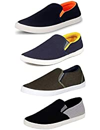 TEMPO Men's Combo Pack of 4 Loafers Shoes(727/729/726/SLV Gry)