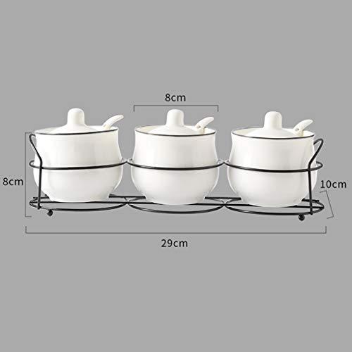 945763 Kitchen Supplies Caja de condimentos de cerámica de Tarro de Especias Artículos de Cocina Castor Combinación de Traje Botella de aderezo Traje de Tres Piezas Lata de Sal (Color : A)
