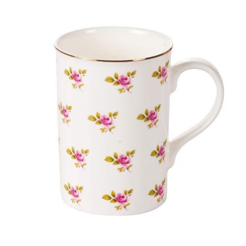 Crown Trent Tasse Kaffeebecher Kaffeetasse Teetasse,Rose, 375ml Fine Bone China