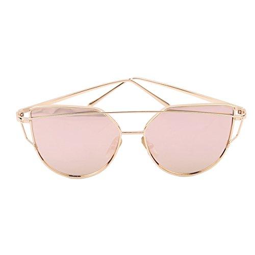 Chinget Twin-Träger klassische Frauen Metallrahmen Spiegel Sonnenbrille Cat Eye Brillenmode (Farbe 4)