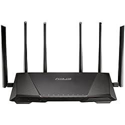 Asus Rt-ac3200 Routeur Wi-fi Ac 3200 Mbps Triple Bande avec 6 Antennes Externes, Beamforming Airadar et Sécurité Aiprotection à Vie Trendmicro