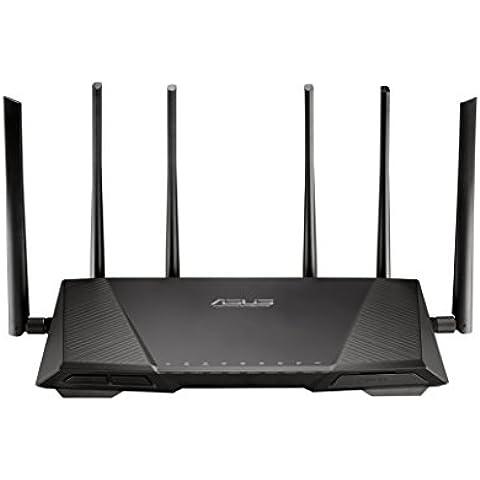 ASUS RT-AC3200 - Router inalámbrico Tri-banda AC3200 (Gigabit, repetidor, punto de acceso, USB 3.0, QoS), color negro