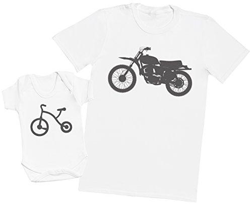 Zarlivia Clothing Trike and Motorbike - Ensemble Père Bébé Cadeau - Hommes T-Shirt & Body bébé - Blanc - M & 0-3 Mois