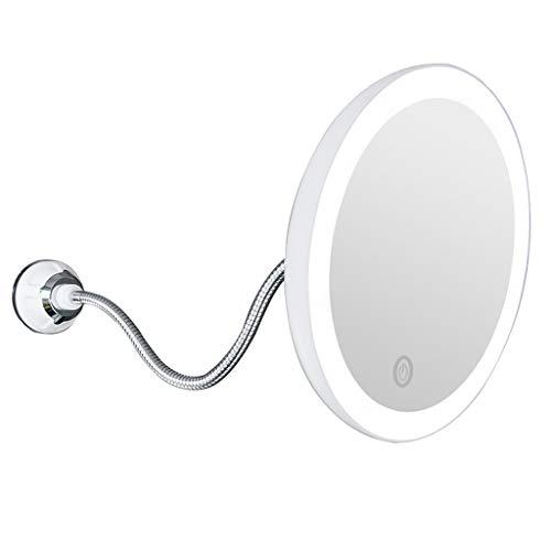 Weißer Schwanenhals (Dimmbar Makeup Spiegel, LeeMon LED 5X Vergrößerungsspiegel Badspiegel Mit Schwanenhals und Saugnapf (Weiß))