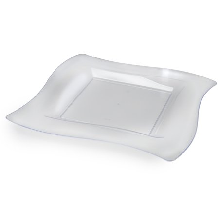 tplastik, gewelltes Design, quadratisch, groß, 27 cm, transparent, 10 Stück ()