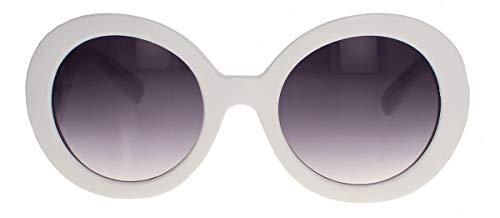 amashades Vintage Classics Große runde Damen Retro Sonnenbrille im Designer Look 60er 70er Jahre dicker breiter Rahmen Bügel geschwungen verschnörkelt PR93 (Weiss)