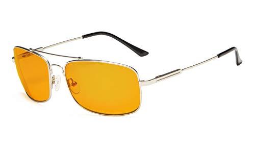 Eyekepper biegsame Rahmen Blau Blockierung Brille für Schlaf-Nachtzeit Brillen Besondere Orange getönte Gläser für Frauen Männer (Silber, 0.00)