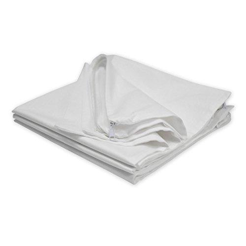 Qool24 Baumwolle Inlett mit Reißverschluss ungefüllt in 20 Größen Füllkissen - ohne Füllung - Weiß 80x80 cm