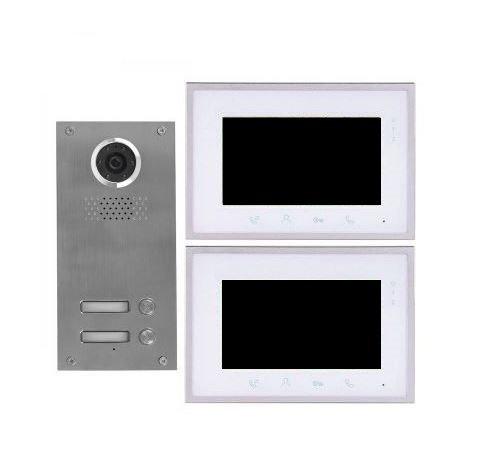 2 Draht 2-Familienhaus Video Türsprechanlage Gegensprechanlage mit 7 \'\' Monitor
