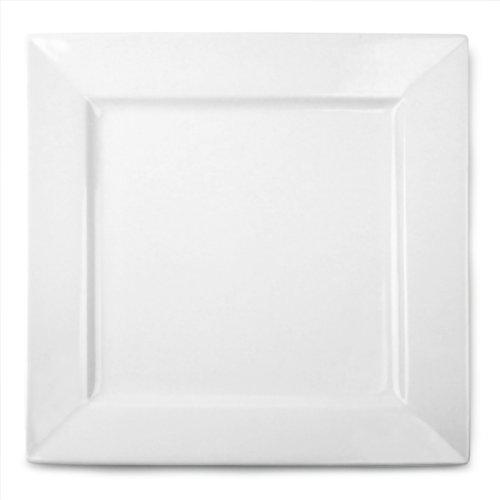 Royal Genware Assiettes-Plats carrés 26 cm-Lot de 3 assiettes en porcelaine Blanc Nevilles 10.25inch
