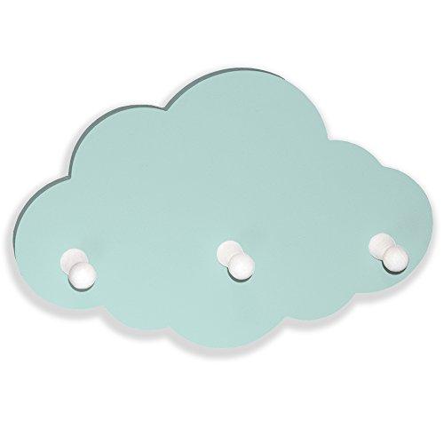 luvel - (G53) Kindergarderobe mit 3 Haken, Garderobe Kinderzimmer, Babyzimmer Wandgarderobe, Kleiderhaken, Wandhaken, Kindermöbel, Garderobenhaken Maße Wolke : 30 x 20 x 1 cm, Wolken mint