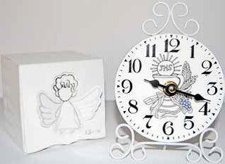 Bomboniera orologio etnico, bianca in metallo con calice x prima comunione, cm 10x4x15 (hmarcm161ab)