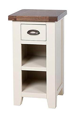 Woodbury Dove Grey Painted Chunky Rustic Dark Oak Telephone Side Lamp Table Unit , Dark Oak / Dove Painted Base, H 77 x W 40 x D 40