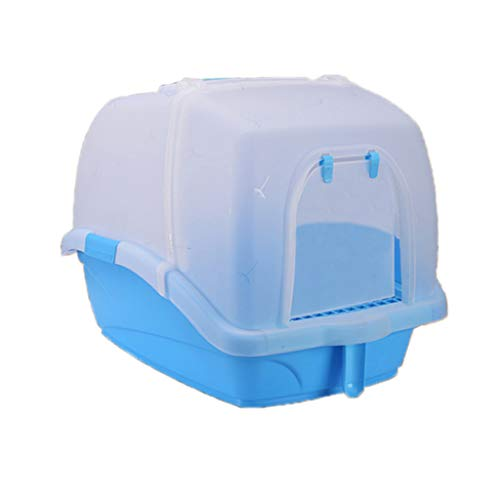 Welhome Cat Litter Box Jumbo, Petlife Cat Toilet, Hooded Cat Litter Box, PP Resin Litter Tray, Fully Enclosed Cat Kitty Litter Pan, for Cat oder Dog Use Pots,Blue,A