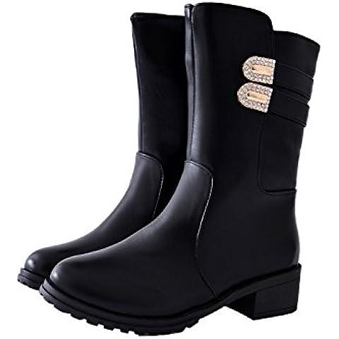 Caída de la nueva Europa, viento caliente espesor Martin botas invierno de mujer botas de lado cremallera cinturón hebilla mujer , black ,