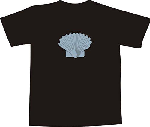 T-Shirt E738 Schönes T-Shirt mit farbigem Brustaufdruck - Logo / Grafik - Comic Design -schöne minimalistische Muschel am Meer Mehrfarbig
