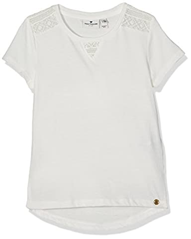 TOM TAILOR Kids Mädchen T-Shirt Basic Tee with Lace Inserts, Weiß (Soft Clear White 2067), 140