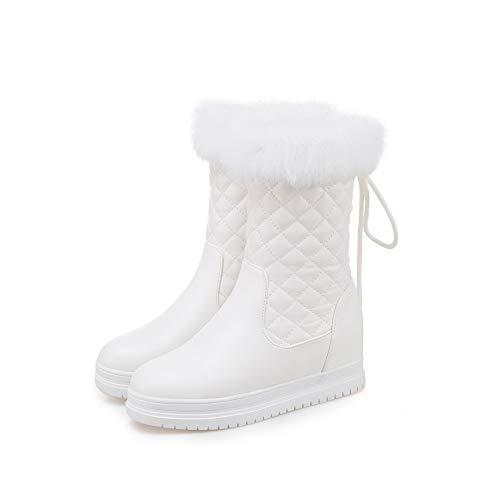 GAOQQ Winter-Frauen-Stiefel Breites Kalb, Beiläufige Flache Bottomed Pelzige Mittlere Schlauch-Schneeschuhe 3 Farben Können Wählen,White-CN40
