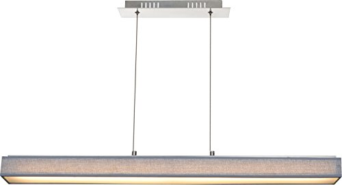 Globo Luxus LED Pendel Hänge Lampe Esszimmer Decken Fluter Textil Schirm grau EEK A 15185-18H