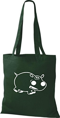 Shirtstown Stoffbeutel Tiere Nilpferd Grün