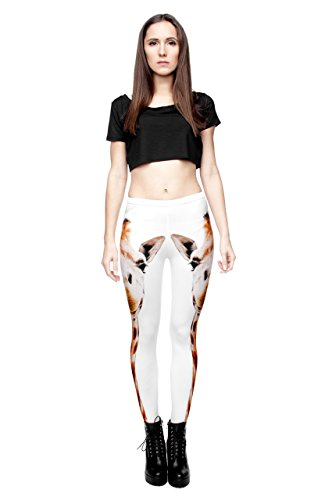 Leggings für Damen/Mädchen, mit 3D-Grafik, elastisch Mehrfarbig - Giraffe