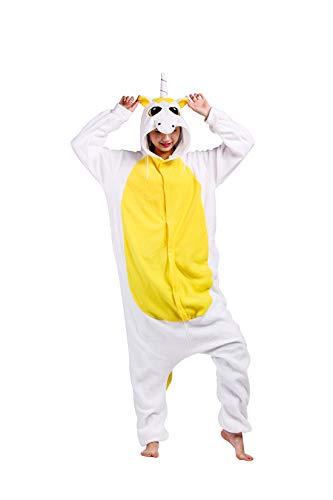 Einhorn Für Kapuze Erwachsene Kostüm - Casa Pyjamas Tieroutfit Schlafanzug Tier Onesies Sleepsuit mit Kapuze Erwachsene Unisex Overall Halloween Kostüm (Medium, Gold Einhorn)