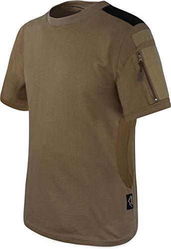 Khaki Bdu Shirt (T-Shirt BDU Tactical Kurzarm Kampfshirt mit Klettflächen, Reißverschlusstaschen am Arm und seitlicher MESH-Einsatz - Combat Short Sleeve Farbe Khaki Größe S)