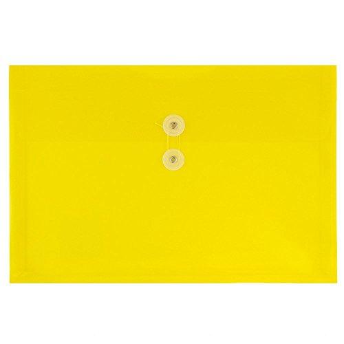 JAM PAPER Kunststoff Dokumentenmappen mit Knopf & Schnürverschluss - Großes Bookletumschlag - 247,6 x 31,8 x 368,3 mm - Gelb - 12/Packungung