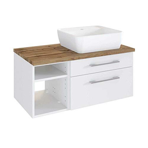 *Lomadox Waschtisch-Unterschrank matt weiß 90 cm inkl. Keramik Aufsatz-Waschbecken*