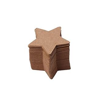 Tubicu – 100 Etiquetas de Papel Kraft en Blanco con Forma de Estrella para Colgar Etiquetas de Navidad, Bodas y Manualidades