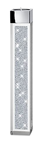 Modernes Teelicht Pylon groß mit SWAROVSKI ELEMENTS Kristallen - die besondere Tisch-Dekoration