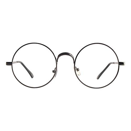 Tianzhiyi Runde Brille Runde Retro Brille Metallrahmen klare Linse Vintage Plain Brille Eyewear Geek Brille Decor Brillen für Männer und Frauen - Silber (Color : Gray)