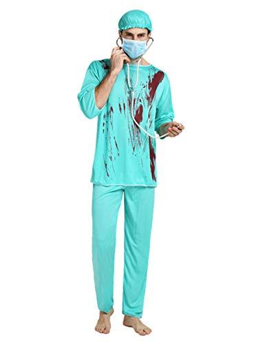 Kostüm Böse Arzt - TUTOU Halloween Horror Requisiten, Cosplay Adult Nurse Kostüm Horror Kleidung mit Blut Männlichen Arzt Kostüm Maske Adult Party Dekoration