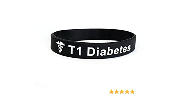 Butler & Grace T1 Diabetes wristband medical alert ID bracelet type 1 one T1D diabetic black white silicone band by