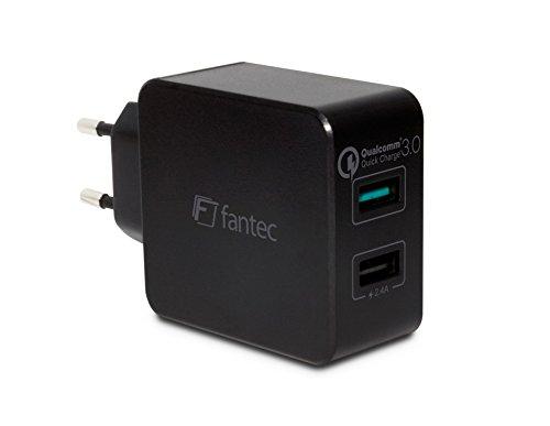FANTEC QC3-A21 Quick Charge 3.0 Ladegerät und 2x USB Anschlüssen mit 30W schwarz