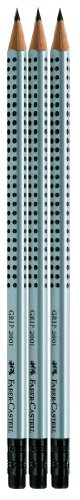 Faber-Castell 117298-3 GRIP Bleistifte 2001 mit Gummi-Tip, Härtegrad: HB, Schaftfarbe: silber