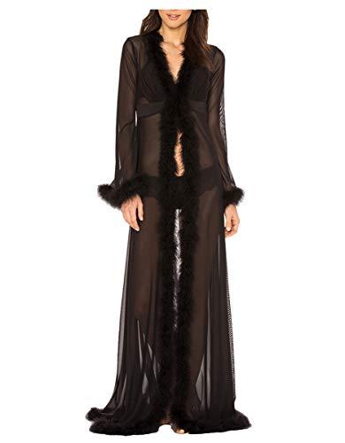 ShineGown Schier Frauen Loungewear Lange Feder Robe Schwarz Dessous Pelz Getrimmt
