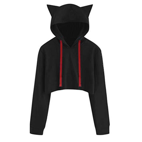 Hund Long Sleeve Tee (iHENGH Sweatshirt, Damen Frauen Cat Long Sleeve Hoodie Sweatshirt Kapuzen Pullover Short Tops Bluse)