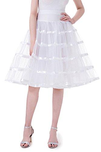 Halloween Kostüm Flamingo Selbstgemacht (Tsygirls Unterrock Petticoat Reifrock Tll Tutu fr Vintage Kleid 1950 Rcke, Wei,)