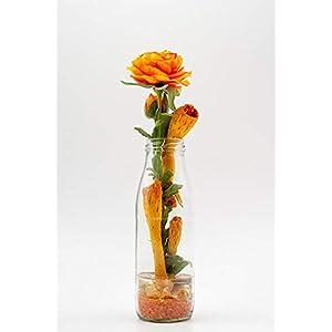 Rustikales Tischgesteck mit Ranunkeln+Milchflasche-Tischdeko mit künstl.Blumen