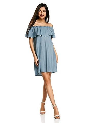 oodji Ultra Damen Schulterfreies Lyocell-Kleid, Blau, DE 36 / EU 38 / S (Jeans Kleid)